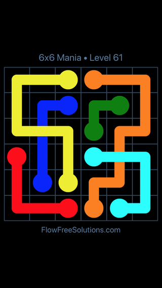 Solution and Answer to the Puzzle for Flow Free: Bridges 6x6 Mania Level 61