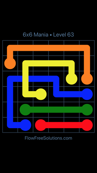 Solution and Answer to the Puzzle for Flow Free: Bridges 6x6 Mania Level 63
