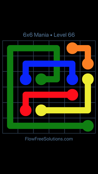 Solution and Answer to the Puzzle for Flow Free: Bridges 6x6 Mania Level 66