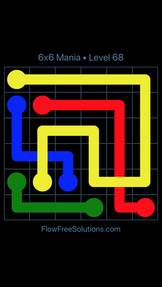 Solution and Answer to the Puzzle for Flow Free: Bridges 6x6 Mania Level 68