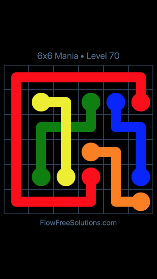 Solution and Answer to the Puzzle for Flow Free: Bridges 6x6 Mania Level 70