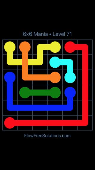 Solution and Answer to the Puzzle for Flow Free: Bridges 6x6 Mania Level 71