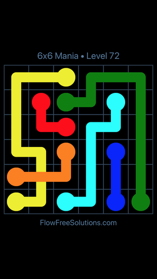 Solution and Answer to the Puzzle for Flow Free: Bridges 6x6 Mania Level 72
