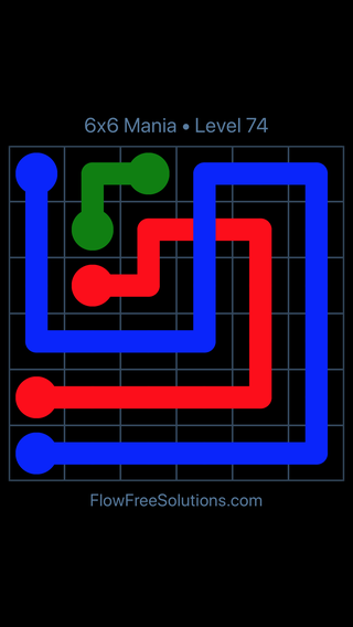 Solution and Answer to the Puzzle for Flow Free: Bridges 6x6 Mania Level 74