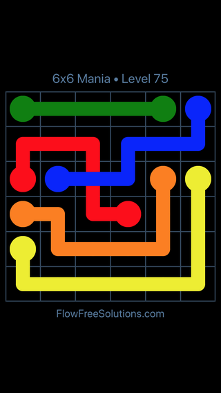 Solution and Answer to the Puzzle for Flow Free: Bridges 6x6 Mania Level 75