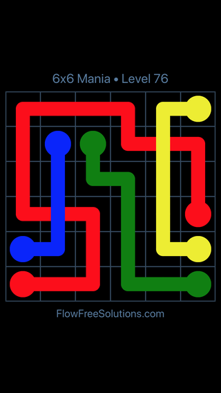Solution and Answer to the Puzzle for Flow Free: Bridges 6x6 Mania Level 76