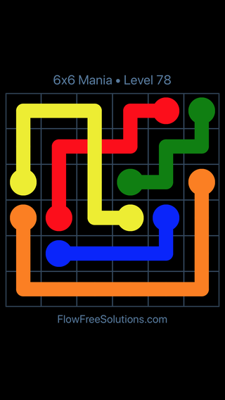 Solution and Answer to the Puzzle for Flow Free: Bridges 6x6 Mania Level 78