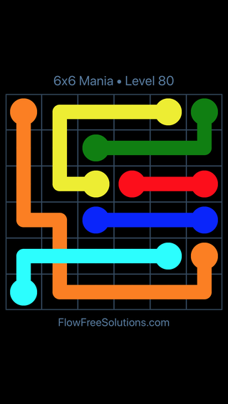 Solution and Answer to the Puzzle for Flow Free: Bridges 6x6 Mania Level 80