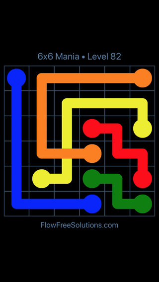 Solution and Answer to the Puzzle for Flow Free: Bridges 6x6 Mania Level 82