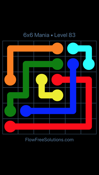 Solution and Answer to the Puzzle for Flow Free: Bridges 6x6 Mania Level 83