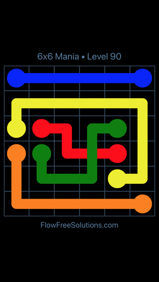 Solution and Answer to the Puzzle for Flow Free: Bridges 6x6 Mania Level 90