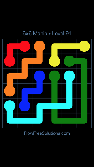 Solution and Answer to the Puzzle for Flow Free: Bridges 6x6 Mania Level 91