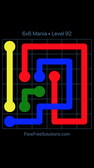 Solution and Answer to the Puzzle for Flow Free: Bridges 6x6 Mania Level 92