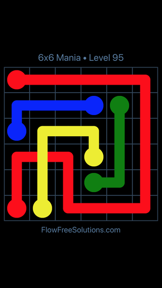 Solution and Answer to the Puzzle for Flow Free: Bridges 6x6 Mania Level 95