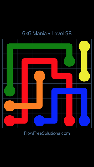 Solution and Answer to the Puzzle for Flow Free: Bridges 6x6 Mania Level 98