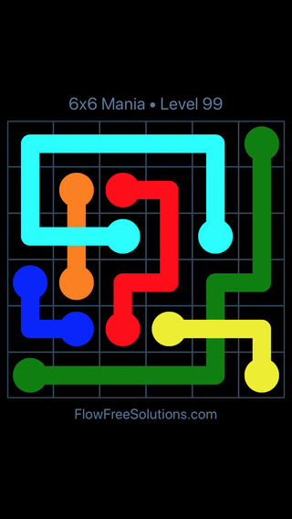 Solution and Answer to the Puzzle for Flow Free: Bridges 6x6 Mania Level 99
