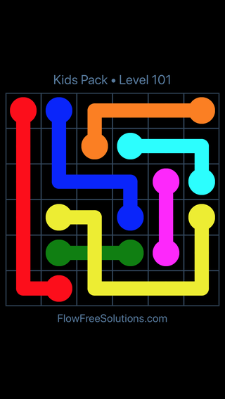 Solution and Answer to the Puzzle for Flow Free: Bridges Kids Pack Level 41