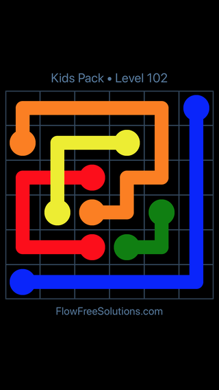 Solution and Answer to the Puzzle for Flow Free: Bridges Kids Pack Level 42
