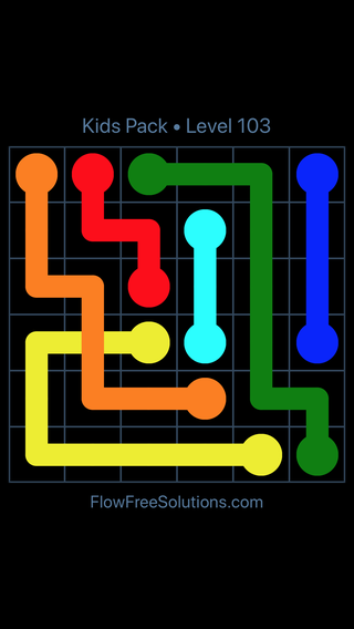 Solution and Answer to the Puzzle for Flow Free: Bridges Kids Pack Level 43
