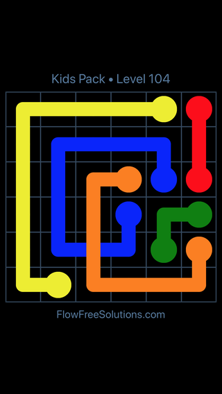 Solution and Answer to the Puzzle for Flow Free: Bridges Kids Pack Level 44