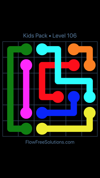 Solution and Answer to the Puzzle for Flow Free: Bridges Kids Pack Level 46