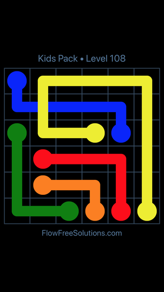 Solution and Answer to the Puzzle for Flow Free: Bridges Kids Pack Level 48