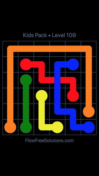 Solution and Answer to the Puzzle for Flow Free: Bridges Kids Pack Level 49