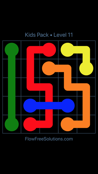 Solution and Answer to the Puzzle for Flow Free: Bridges Kids Pack Level 11