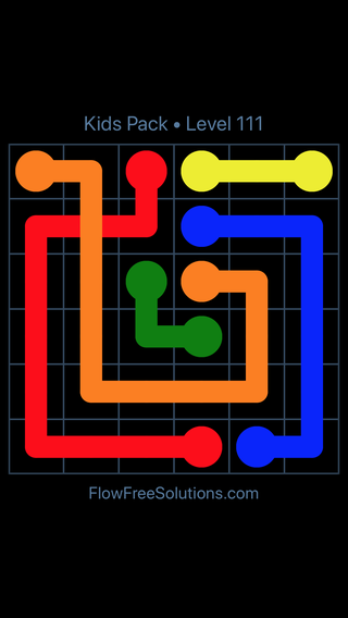 Solution and Answer to the Puzzle for Flow Free: Bridges Kids Pack Level 51