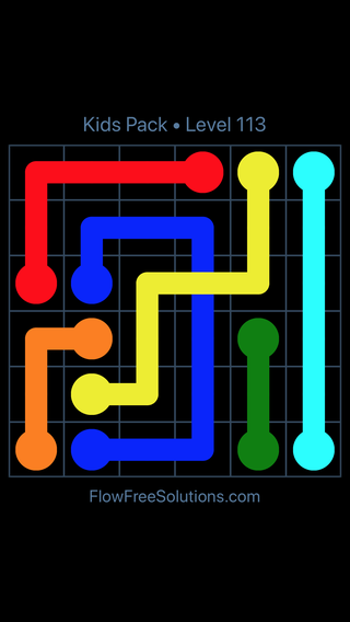 Solution and Answer to the Puzzle for Flow Free: Bridges Kids Pack Level 53