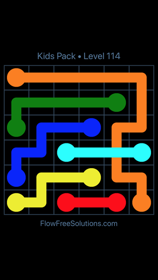 Solution and Answer to the Puzzle for Flow Free: Bridges Kids Pack Level 54