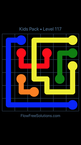 Solution and Answer to the Puzzle for Flow Free: Bridges Kids Pack Level 57