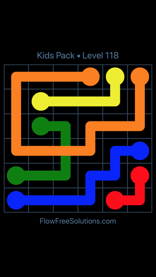 Solution and Answer to the Puzzle for Flow Free: Bridges Kids Pack Level 58