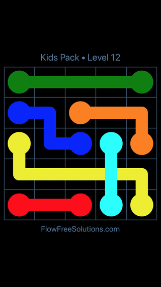 Solution and Answer to the Puzzle for Flow Free: Bridges Kids Pack Level 12
