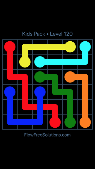 Solution and Answer to the Puzzle for Flow Free: Bridges Kids Pack Level 60
