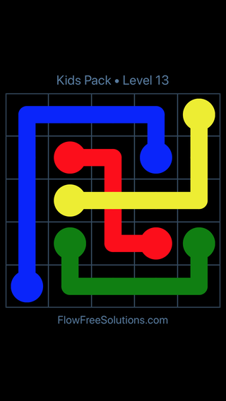 Solution and Answer to the Puzzle for Flow Free: Bridges Kids Pack Level 13