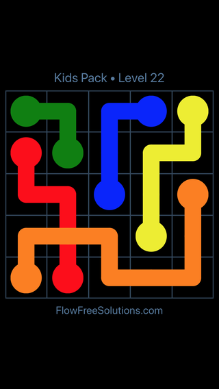 Solution and Answer to the Puzzle for Flow Free: Bridges Kids Pack Level 22