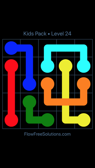 Solution and Answer to the Puzzle for Flow Free: Bridges Kids Pack Level 24