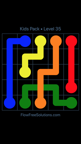 Solution and Answer to the Puzzle for Flow Free: Bridges Kids Pack Level 35