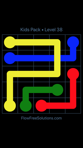 Solution and Answer to the Puzzle for Flow Free: Bridges Kids Pack Level 38