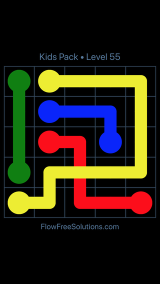 Solution and Answer to the Puzzle for Flow Free: Bridges Kids Pack Level 55
