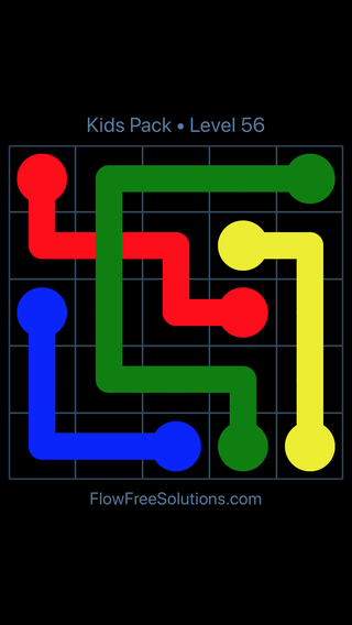 Solution and Answer to the Puzzle for Flow Free: Bridges Kids Pack Level 56