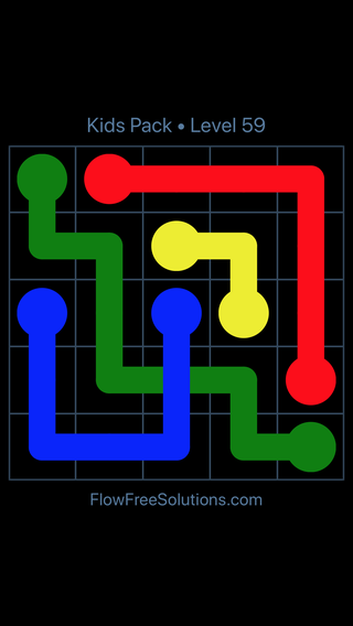 Solution and Answer to the Puzzle for Flow Free: Bridges Kids Pack Level 59