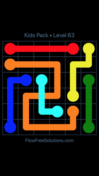 Solution and Answer to the Puzzle for Flow Free: Bridges Kids Pack Level 3