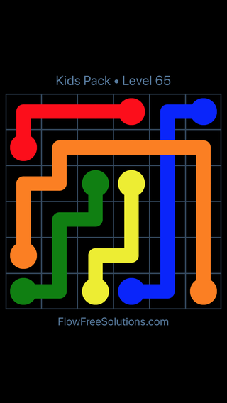 Solution and Answer to the Puzzle for Flow Free: Bridges Kids Pack Level 5