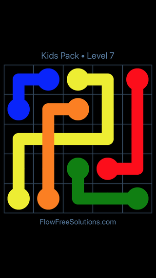 Solution and Answer to the Puzzle for Flow Free: Bridges Kids Pack Level 7