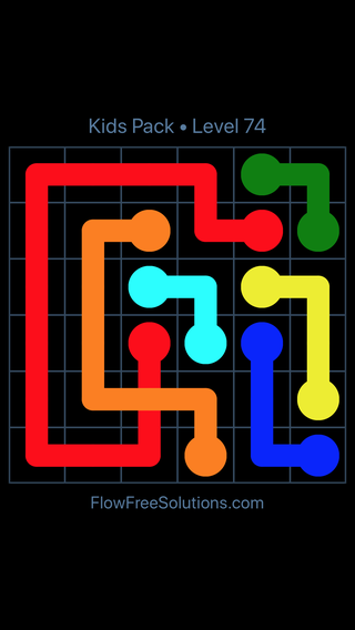 Solution and Answer to the Puzzle for Flow Free: Bridges Kids Pack Level 14
