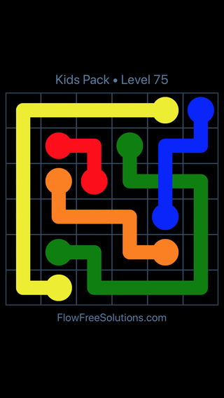 Solution and Answer to the Puzzle for Flow Free: Bridges Kids Pack Level 15
