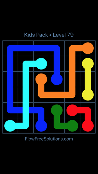 Solution and Answer to the Puzzle for Flow Free: Bridges Kids Pack Level 19