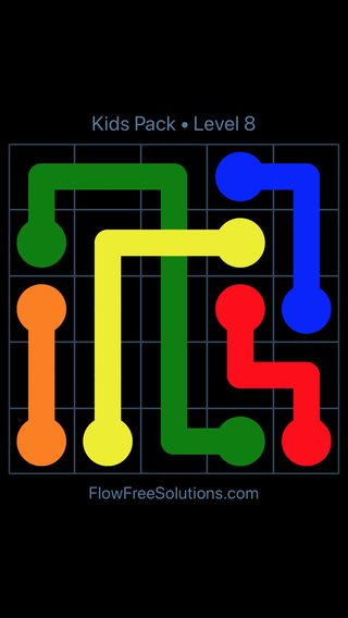 Solution and Answer to the Puzzle for Flow Free: Bridges Kids Pack Level 8